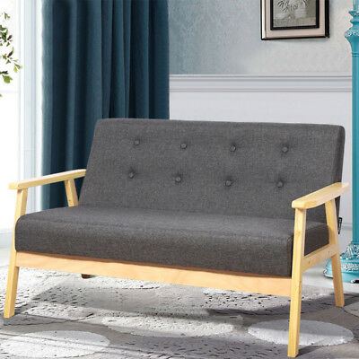 2 SEATER WOODEN Frame Retro Sofa Modern Couch Lounger Living ...