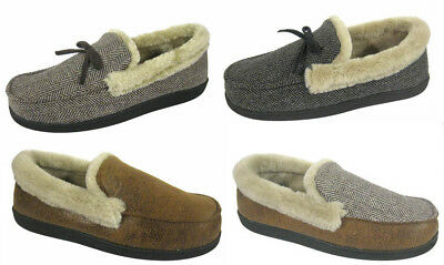 Men's Boys Coolers Microsuede Faux Fur Collar Full Back Slippers Sizes 7 - 12