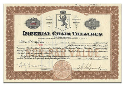 Imperial Chain Theatres Incorporated Stock Certificate