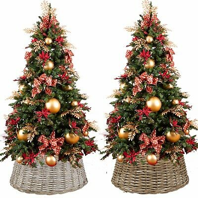 Large Willow Christmas Tree Skirt Xmas Rattan Wicker Natural Base Cover Stand