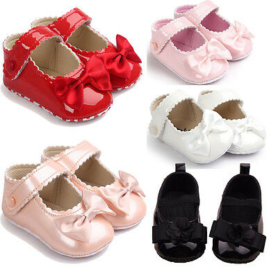 Toddler Baby Girl Bowknot Crib Shoes Newborn Prewalker Non-slip Kids Soft Id