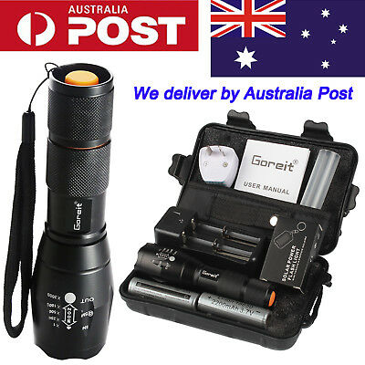 50000lm ShadowHawk X800 LED Tactical Flashlight  Zoom Military Torch 2x Battery