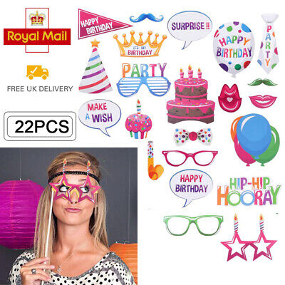 22PCS Happy Birthday Photo Booth Props Party Funny Photography Selfie Moustache