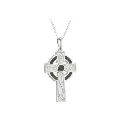 Celtic Cross Necklace Connemara Marble & Sterling Silver Made in Ireland