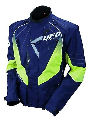 UFO Motocross Enduro Jacket Off Road Trail Adults Navy Neon Yellow L
