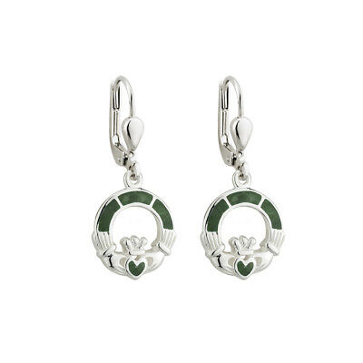 Claddagh Earrings Connemara Marble & Sterling Silver Made in Ireland
