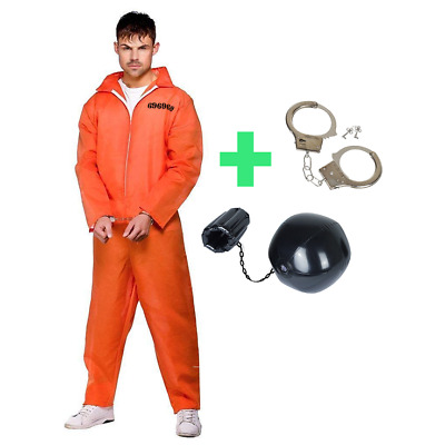 Mens Prisoner Orange Convict Jumpsuit fancy dress Overalls stag costume outfit