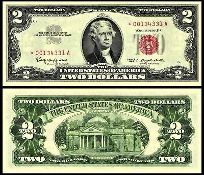 1963 $2 United States Note STAR NOTE Jefferson Red Seal Currency Fr#1513* CU