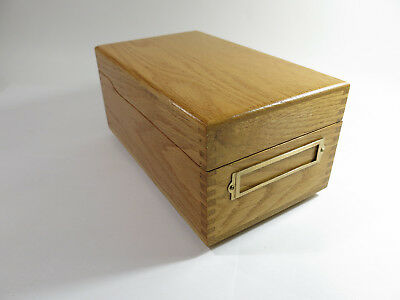 Vintage 1950s Fingerjoined Solid Oak Desk-Top Card Filing Box with Card Holder