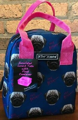 Betsy Johnson Pug Lunch Bag Tote!
