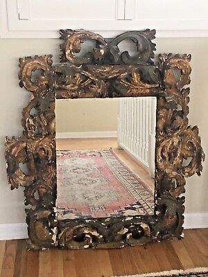 EARLY 19th Century Italian Baroque Rococo Carved Gilt Wood Wall Mirror