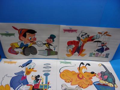 Vintage Disney Placemats RCA Victor Promotion 1960's Lot of 4 Mickey Pluto More