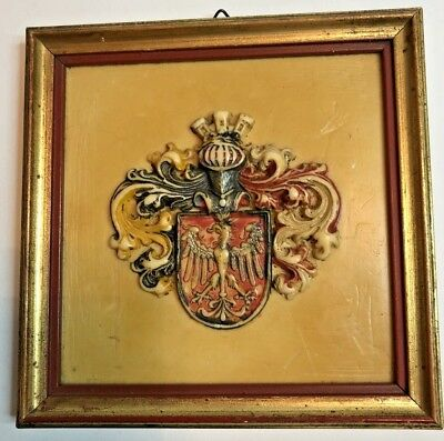 Vintage Coat of Arms Crest - Phoenix - Hand Carved - Framed Wax Relief Carving