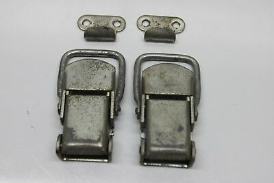 Set 2 Vintage J.H. Sessions Heavy Duty Metal Spring Pull Draw Latch, Chest Trunk