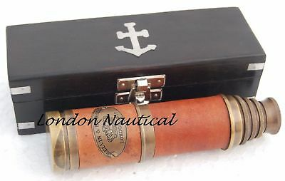 Nautical Brass Kelvin & Hughes London 1917 Telescope With Wooden Box Gift Item