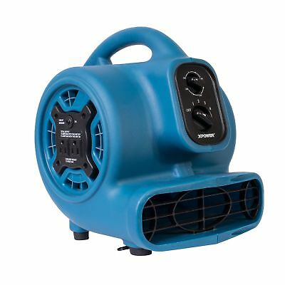 Multi-Purpose Mini Mighty Air Mover Utility Fan Dryer Blower Outlets 1/5 HP Blue