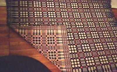 """Antique Woven Coverlet Red and Blue Reversible 80"""" x 68"""" Overshot 1840's"""