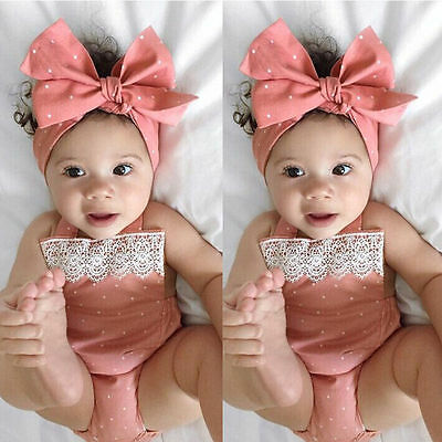 Newborn Baby Girls Romper Jumpsuit Bodysuit Infant Headband Clothes Outfits Id