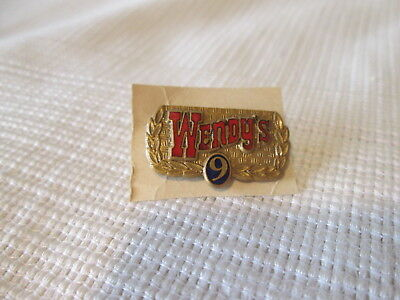 Vintage Wendy's #9 Blue Rare Employee Year Service/Loyalty Metal Pins Fast Food