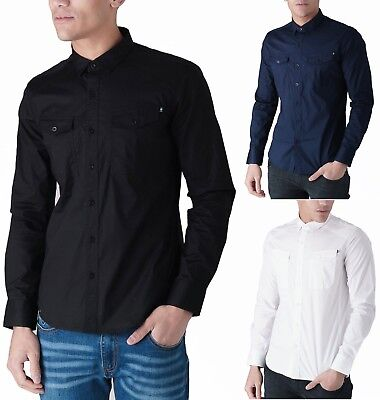 DUCK AND COVER Mens Cotton Shirt Slim Fit Stretch Long Sleeve Poplin Fashion