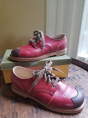Vintage Boy Girl Deep Red Leather Oxford Shoes USA made Deadstock Never Worn 12d