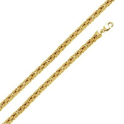 Mens 925 Sterling Silver Gold Plated Hollow Byzantine Chain 7mm