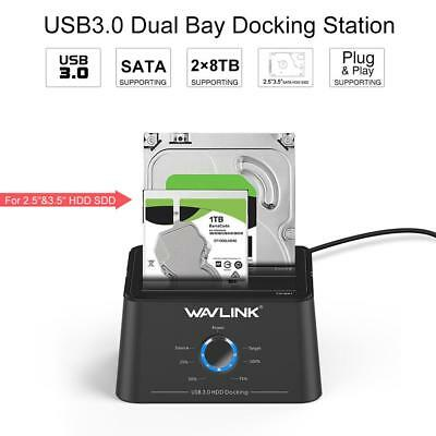 Wavlink 2.5in 3.5in 5Gbps 8TB USB 3.0 SATA Dual Bay External Hard Drive Docking