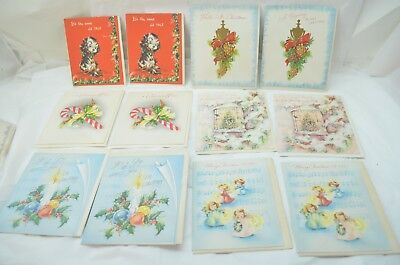 VINTAGE CHRISTMAS CARDS MID CENTURY VARIETY 12 UNUSED GREETING CARDS 1950s LOT d