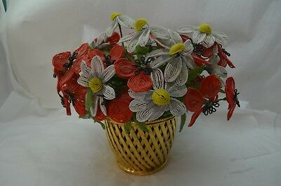Antique French Beaded Flowers Large Bouquet Red Poppy Daisy Gold Vase 30+ Stems