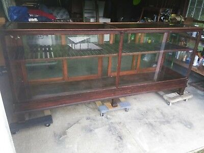 Antique Early 1900's Mercantile Display Case Solid Wood Beveled Glass Top NICE!