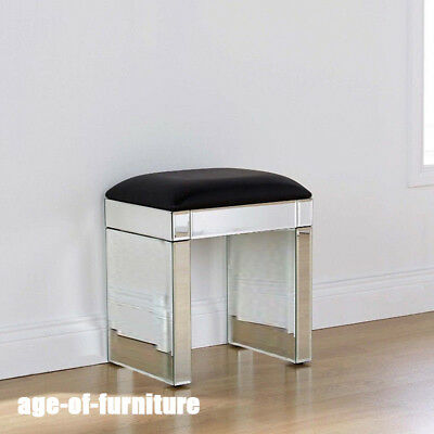 Swell Mirror Dressing Chair Glass Stool Seat Black Faux Leather Evergreenethics Interior Chair Design Evergreenethicsorg