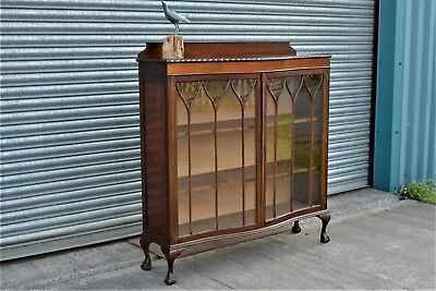 Antique Mahogany Bookcase Display Cabinet with Hand Painted Stain Glass Roses.