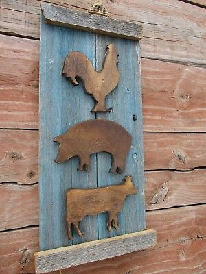 Primitive ROOSTER PIG COW weathered wood sign vintage stacked farm animals old