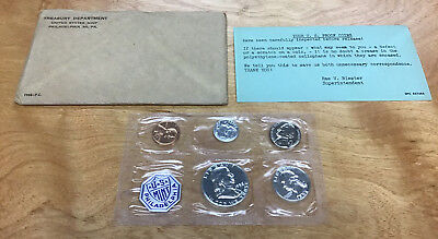 1958 Proof Set 5-Coins In Original Plastic With Outer Envelope