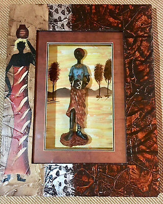 SALE!! HANDMADE MultiMedia AFRICAN ART 3D Shadow Box PAINTING Collage/Sculpture