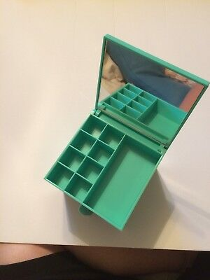 Sanrio Just For Fun Bear 1991 Jewelry Trinket Box Mirror Two Drawer Vintage Teal