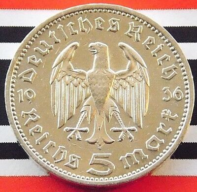 GERMAN Coin 1936 A 5 MARK REICHSMARK EAGLE Hindenburg Silver 3RD REICH WW2 +NICE