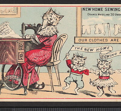 Antique New Home Sewing Machine 1800s Kitty Cat Victorian Advertising Trade Card