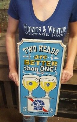 Vintage PABST BLUE RIBBON Two Heads Are Better Than One Wood Bar Adv. Beer Sign
