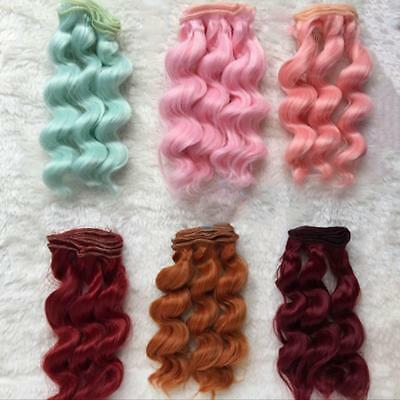 LONG DIY Colorful Ombre Curly Wave Doll Wigs Synthetic Head Hairs Dolls