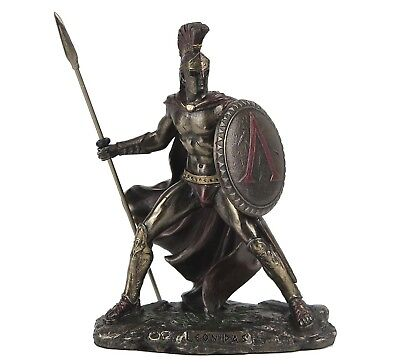 "Leonidas Greek Spartan Warrior King Bronze Figurine Miniature Statue 4""H New"