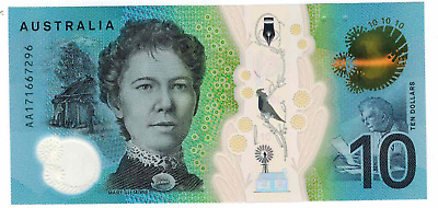 Australia 2017 $10 Next Generation First Prefix UNC Bank Notes