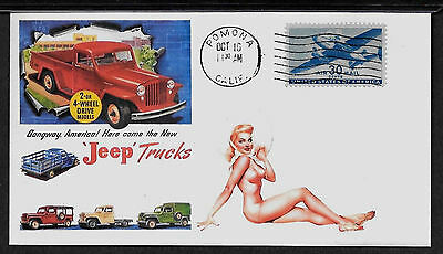 1947 Jeep Trucks & Pin Up Girl ad Featured on Collector's Envelope *A500