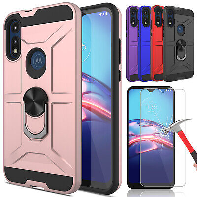 For Motorola Moto G6 Ring Stand Armor Phone Case+Tempered Glass Screen Protector