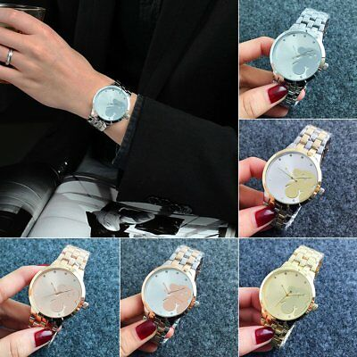 Luxury Women Men Stainless Steel Diamond Dial Analog Quartz Wrist Watch Bracelet