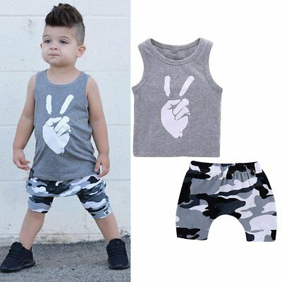 Toddler Kids Baby Boys Summer Clothes T-shirt Vest Tops+Shorts Pants Outfits Set