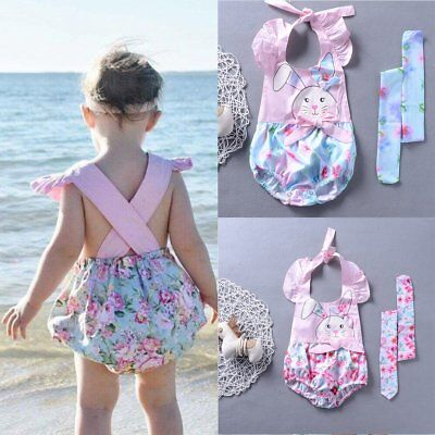 Newborn Infant Baby Girl Floral Romper Bodysuit Jumpsuit Headband Outfit Sunsuit