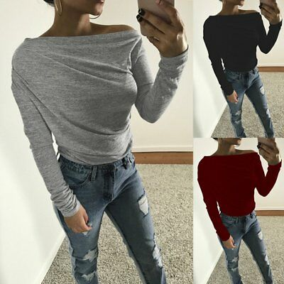 Fashion Womens Off Shoulder Long Sleeve Casual Blouse Loose Cotton Tops T Shirt
