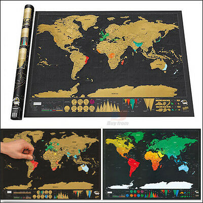 Scratch Off Map World Deluxe Large Personalized Travel Poster Atlas Tour Helper