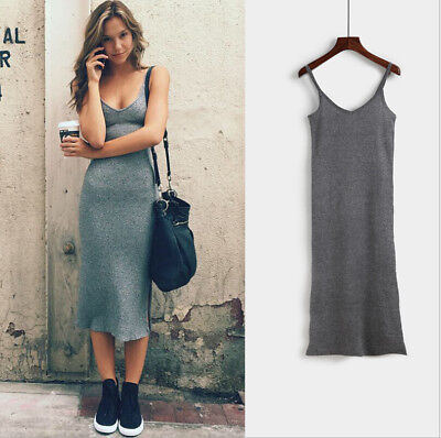 Womens Sleeveless Strappy Tank Dress Slim Rib Knit Split Party Midi Dress